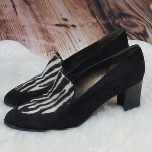 Stuart Weitzman *8.5* Suede/Zebra Fur Loafers